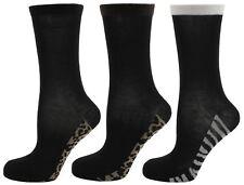 RJM Ladies Pattern Sole Socks Size 4-7 Black