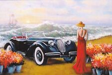 RARE Lady in red by the sea vintage car by Chizhevsky Russian modern postcard
