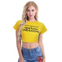 Womens Casual Tank Top Short Sleeve Blouse Slim Print Crop Top T-Shirt Sportwear