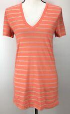 Abound Tee Junior Size M V-Neck Short Sleeve Stripe Shirt J1248