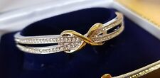 WHITE GOLD FINISHED YELLOW GOLD INFINITY CREATED DIAMOND BANGLE FREE POSTAGE
