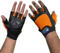 DAM Weight Lifting Gym Gloves Orange Black Cowhide Leather for Unisex S,M,L,XL