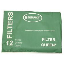 12 Filter Queen EnviroCare Filtration Replacement Cones & 2 Round Motor Filters
