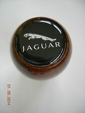 GEAR SHIFT KNOB WOOD JAGUAR BLACK WITH WHITE LETTERS AND CAT LOGO