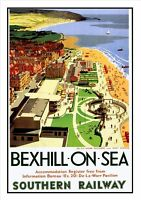 BEXHILL-ON-SEA RAILWAY VINTAGE POSTER / PRINT SUPERB QUALITY