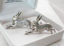 Running Hare Cufflinks in Fine English Pewter (rabbit)