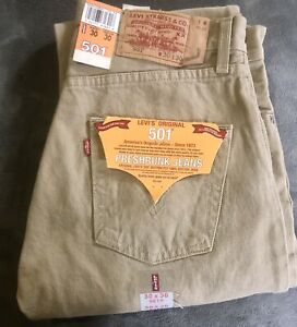 Vintage Levi's 501 Jeans Tan Button-Fly Preshrunk Button-Fly New Deadstock