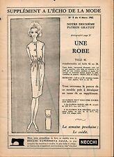▬► Patron Couture Supplément Écho de la Mode Robe Taille 40 N°9 1962