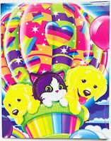 Vintage Lisa Frank Rainbow Balloon Buddies Puppy and Kittens 2 Pocket Folder