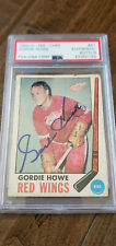 1969-70 OPC SIGNED AUTO CARD GORDIE HOWE RED WINGS AEROS WHALERS PSA DNA 9 # 61