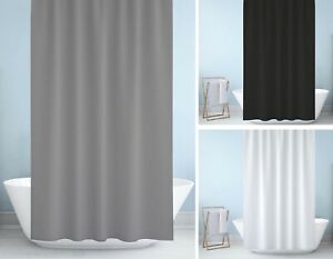 Fabric Shower Curtain, Weighted Hem, Extra Long, Black, White Grey W180x D230cm