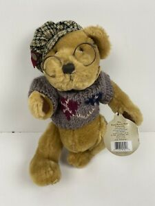 "Brass Button Sherwood Teddy Bear 11"" Tall Standing"