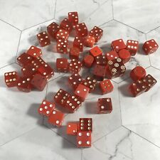 Lot Of 46 Vintage Red Dice Various Materials & Sizes