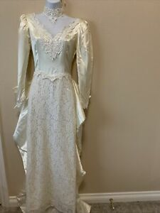 Jessica Mcclintock Cream Wedding Dress Victorian Lace Boho Prarire Six 5/6 Train