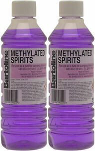 2 x BARTOLINE METHYLATED SPIRIT FUEL BURNERS CAMPING STOVES STAIN CLEANING 500ml