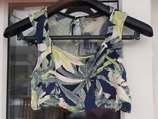 Topshop PETITE Leaf Print Cropped Top Size 10