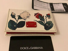 auth. DOLCE & GABBANA roses wallet cardholder white dauphine leather Kartenetui