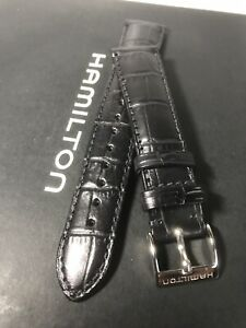 HAMILTON Linwood Daredevil XL Black Leather 19/16mm Watch Strap Only  Brand New 