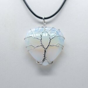 "Opalite Tree Life Pendant Necklace 18"" Black Cord Chain Reiki Healing Chakra UK"