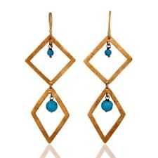 Natural Turquoise Gemstone Earrings 22k Gold Plated 925 Sterling Silver Jewelry