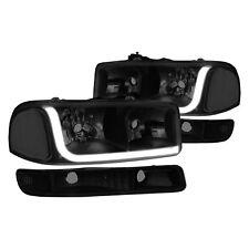 For GMC Sierra 2500 HD 01-06 Headlights Black/Smoke LED DRL Bar Euro Headlights