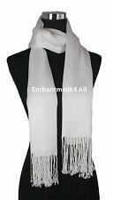 Handmade 100% 2-Ply Pashmina Cashmere Bridal Scarf Shawl Wrap XL Off White Solid