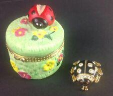 Vintage Lot of Ladybug Items Ceramic Trinket Box & Large Ladybug Pin