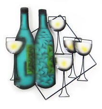 Wine bottles and glasses Metal Wall Art - For Indoor/Outdoor Use 46 cm high new