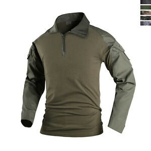 US Army Mens Long Sleeve T-Shirt Airsoft Tactical Hunting Military Casual Shirt