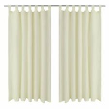 2 Panels Cream Solid Blackout Window Curtains Home Drapes 55W x 96L Micro Satin