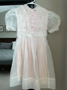 1950s Daddy/'s Girl Brand White Sheer Lace Girls Dress