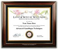 Oral Sex Certificate /Diploma - College Dorm Garage Man Cave Office Bedroom Gift