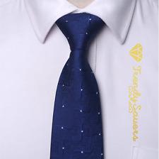 Blue Zig Zag Men's Silk Tie White Dots 8CM Wide Groom Fathers Day Necktie #15