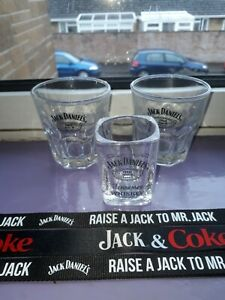 3 JACK DANIELS GLASSES AND LANYARDS