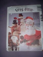 MCCALLS PATTERN 6723 ~ COUNTRY CHRISTMAS SNOWMAN SANTA DOLL ORNAMENTS ~ NEW