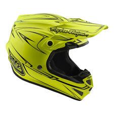 Troy Lee Designs SE4 Polyacrylite Pinstripe Hi-Viz Yellow Medium MX Helmet TLD