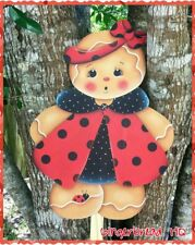 HP Wooden Yard Stake Gingerbread, Lawn Decoration, Yard Art , Sign, Ladybug, Red