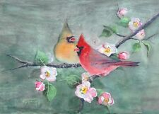 Aceo Cardinals & Apple Blossoms by Sharon Sharpe!
