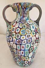 """Vintage Italian Millefiori Flowers 2-Handle Glass Vase Large 8"""""""