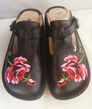 GORGEOUS ALEGRIA Embroidered RED PINK ROSE Black Leather Mules Clog Shoes 9 UK39
