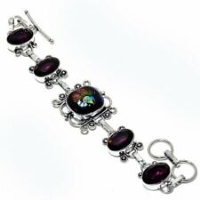 "Ethnic Jewelry Bracelet 7-8"" Zb-561 Dichroic Glass, Amethyst Gemstone Handmade"
