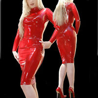 100% New Latex Skirt Red Rubber Sexy Hip Knee Length Fashion Woman Size S-XXL