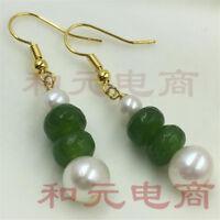 Sweater 8-9MM HUGE baroque pearl earrings 18K gold plating creamy olivine