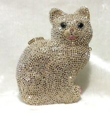 Gold Clear~Cat Shaped~Handmade Austrian Crystal Evening Cocktail Bag