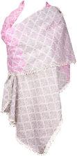 Sommerschal Pink Rosa Weiß 100%Baumwolle Häkelborte scarf crochet cotton summer