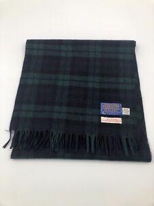 Vintage Pendleton Scarf ~ Black Watch Tartan ~ Virgin Wool Green Blue Plaid