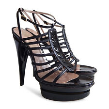 NEW VERSACE Double Platform Patent Leather Strappy Sandals - Black - Size 38