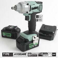 """Kielder 18V Brushless 3/8"""" Cordless Impact Wrench, 2 x 4.0AH Li-ion Battery"""