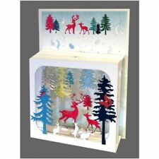 Forever Cards 3D Multi-layered Magic Box Christmas Card - Deer in Forest