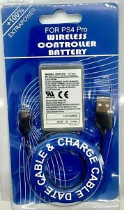 For PS4 PRO Controller Rechargeable Battery 2000mAh Replacement & Charging Cable
